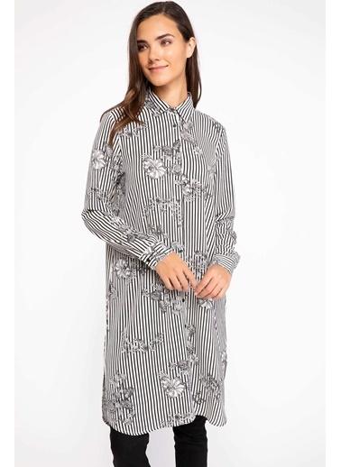 DeFacto Çiçek Desenli Çizgili Gömlek Tunik Siyah